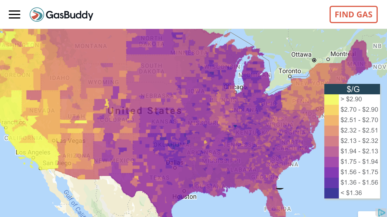 Ceny paliw w USA (źródło: GasBuddy.com)